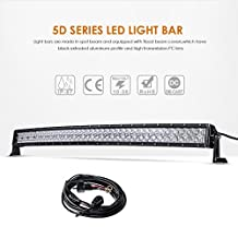 """Auxbeam 42"""" 240W Curved LED Light Bar 5D Lens 24000LM CREE Spot Flood Combo Beam Driving Light with Wiring Harness"""