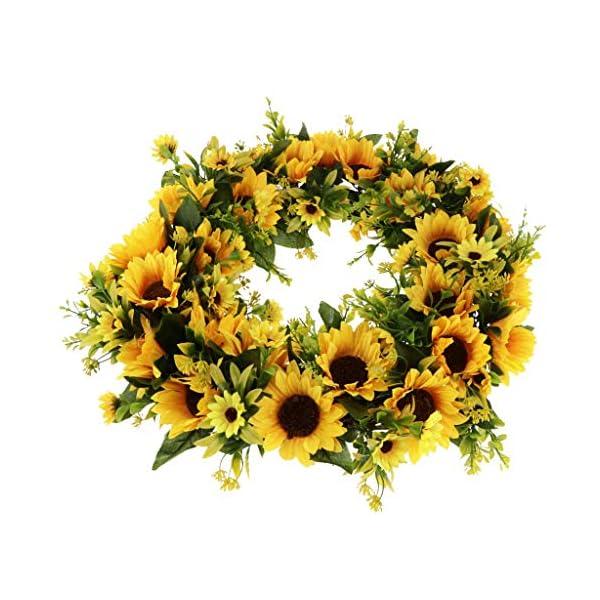 Fenteer Artificial Sunflower Harvest Silk Fall Front Door Wreath Summer Spring Wreath Decoration