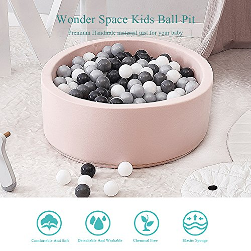 Wonder Space Deluxe Handmade Kids Foam Round Ball Pit| Quality and Durable Premium Drypool with Non-Toxic Safe Materials, Sofe & Thick, Ideal for Little Tots Babies Above 1-year (Light Pink) by Wonder Space (Image #5)