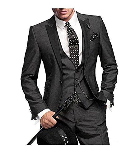 One Button 3 Pieces Charcoal Wedding Suits Notch Lapel Men Suits Groom Tuxedos Charcoal 36 chest / 30 waist (Wedding Button)