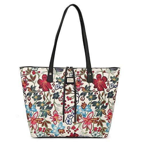 DAVIDJONES Women's Faux Leather 2 Pieces Tote Purse Set Top Handle Shoulder Flora Handbags Vintage Tote Purse-- White Large Faux Leather Handbag Purse