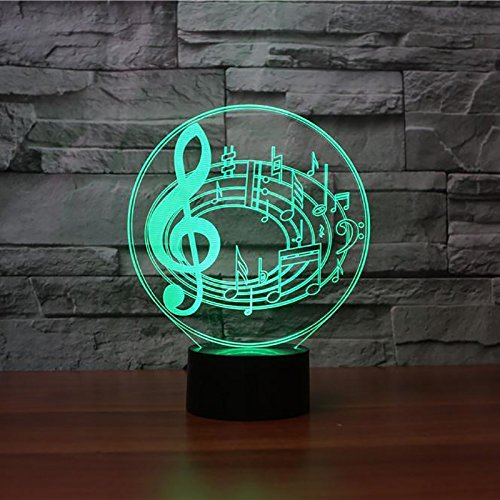 3D Musical Notes Shape Night Light 7 Color Change LED Table Desk Lamp Acrylic Flat ABS Base USB Charger Home Decoration Toy Brithday Xmas Kid Children (Goldfish Lamp)