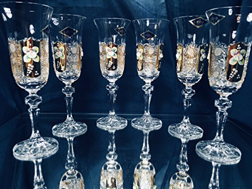 White Vintage Classic Wine (BOHEMIA CRYSTAL GLASS CHAMPAGNE FLUTES 5oz. SET OF 6 GOLD PLATED HAND CUT HAND DECORATED CHAMPAGNE GLASSES WHITE WINE STEM GOBLETS CRYSTAL GLASSES VINTAGE EUROPEAN DESIGN CLASSIC CZECH CRYSTAL GLASS)
