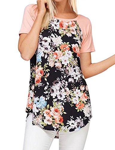 Ezcosplay Women Crew Neck Short Sleeve Floral Print Curved Hem Blouse Tunic Tops
