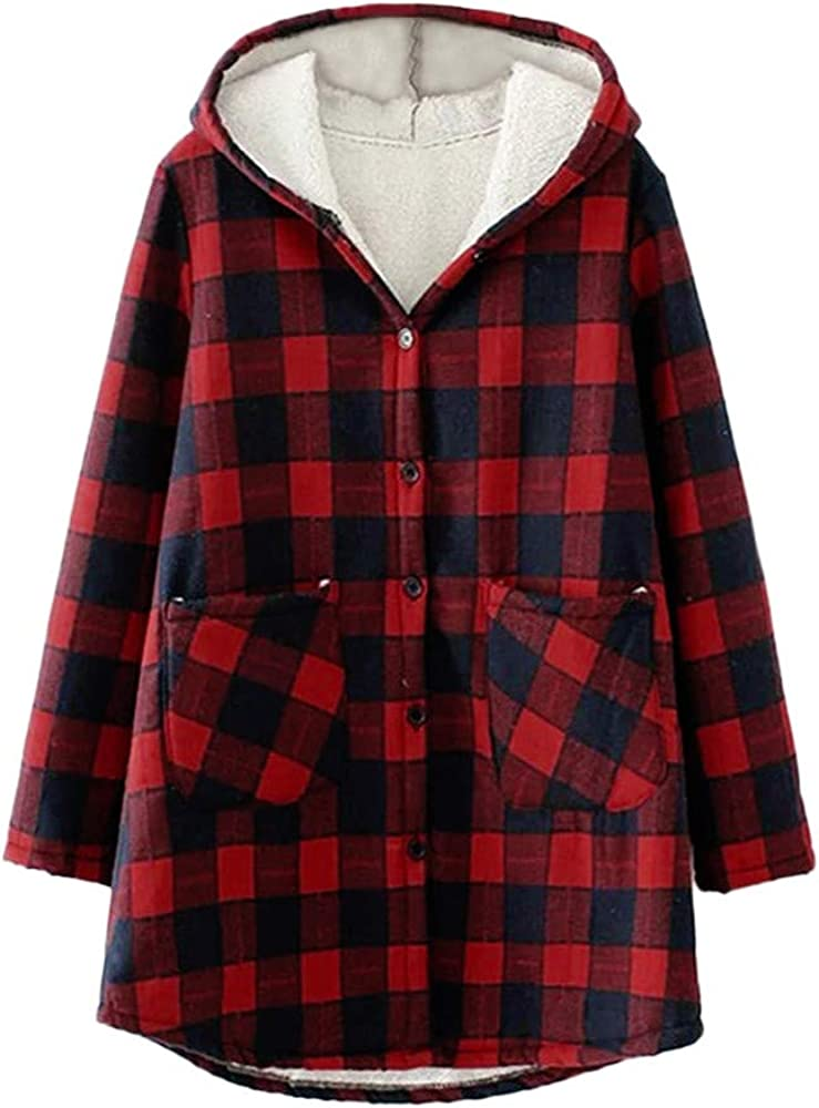 BCDshop Women Jacket Button Plaid Hooded Cardigan Coat Outwear with Inner Faux Fur Pockets
