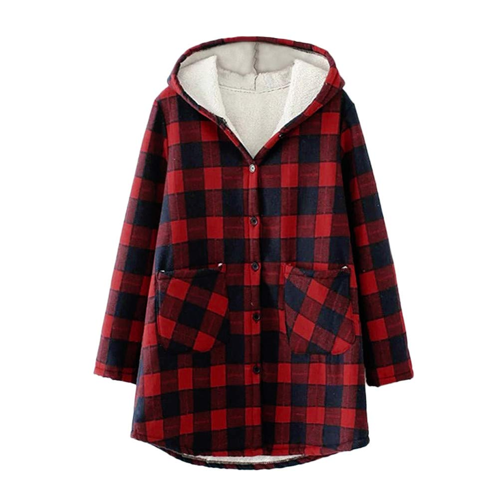Woaills-Tops 2018 New!!Ladies Button Coat,Women Fashion Plaid Plus Velvet Thicken Hooded Long Sleeve Jacket (XL, Red) by Woaills-Tops