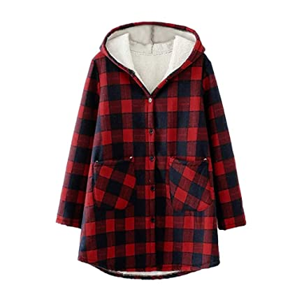 1fed1d3507375 Amazon.com  Franterd Winter Coat Women Plaid Plus Velvet Thicken Fluffy  Button Loose Hooded Cardigan Outwear Coats  Sports   Outdoors