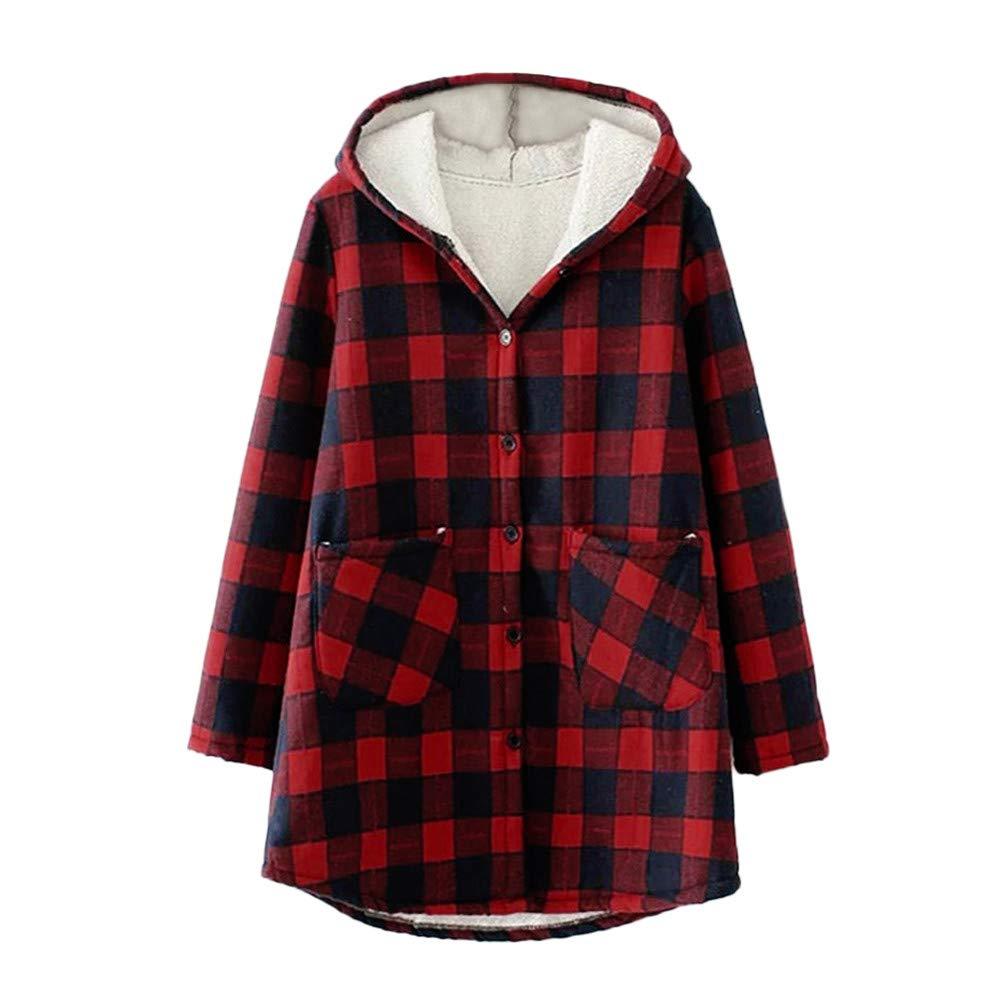 Pervobs Women Fashion Elegant Plaid Plus Velvet Thicken Hooded Coat Jacket Outwear
