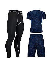 HIENAJ Men's 3 Pack Sport Compression Suits Print T-Shirt Shorts Leggings Workout Set