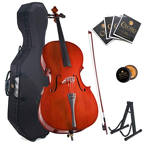 Cecilio Size 4/4 (Full Size) Student Cello with Hard  Soft Case, Stand, Bow, Rosin, Bridge and Extra Set of Strings, 4/4CCO-100