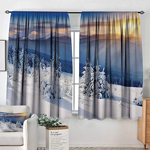 - Winter Custom Curtains Fantastic Disappearance of Sunrise in Mountain Tops Dramatic Sky Alpine Patterned Drape for Glass Door 55