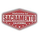 Sacramento City California State USA Grunge Travel Stamp Car Bumper Sticker Decal 5'' x 4''