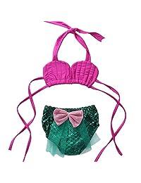 Infant Baby Girls Swimsuit Bikini Set Strap Top+Mermaid Lace Tulle Shorts Pants
