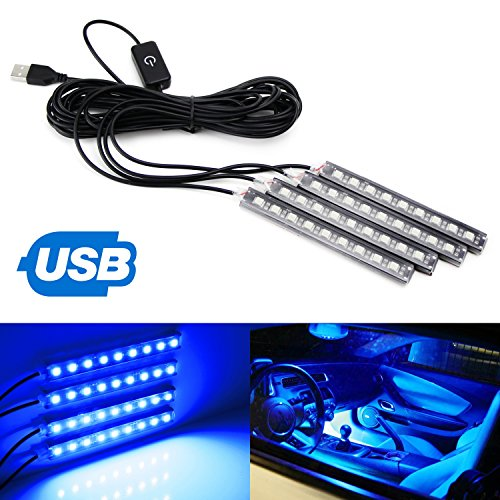 """iJDMTOY 4pc 5"""" 36-SMD LED Ambient Styling Lighting Kit For Car Interior Decoration, Powered From Car USB Socket, Ultra Blue"""