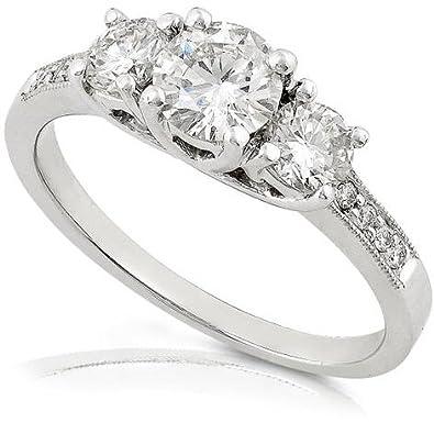96ab4813efc 1 1 2 Carat TW Certified Three Stone Round Diamond Engagement Ring in  Platinum -