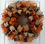 Fall Wreaths for Front Door | Burlap Thanksgiving Deco Mesh Door Wreath; Brown Orange : F3