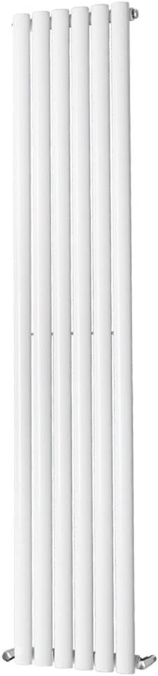 NRG Designer 1800x236mm Vertical Column Bathroom Central Heating Radiator White Single Oval Panel Perfect for Bathrooms Hallway Kitchen Living Room 15 Year Guarantee