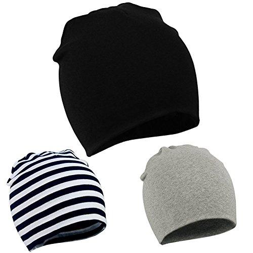 American Trends Unisex Cotton Beanie Hat Girl Boy Toddler Kids Children Soft Cap(3 PCS-Mix Color2)