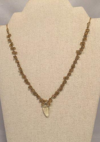 Wire Wrapped Citrine Necklace, With Lemon Quartz - Drop Quartz Lemon