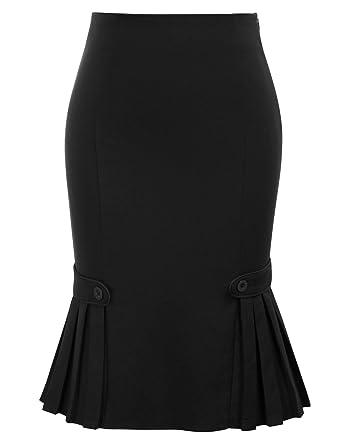 e866f5f84 Belle Poque Retro Ladies Plain High Waist Fishtail Hem Tea Skirts for Party  Black#803
