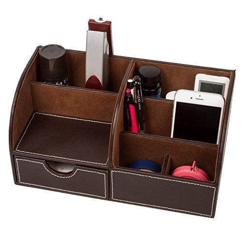Home Desk Organizer Remote Control Holder Media Caddy Stationery Storage Box Collection with 7 Storage Compartments (Coffee) by LOUHO