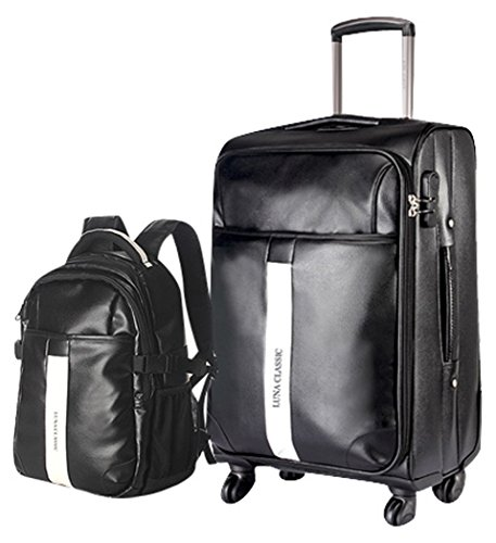 Men PU Leather Spinner Black Luggage and Backpack 2PCS Travel Luggage Set - 24 Inch Suitcase Set by Classic