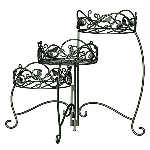 Panacea Products 3-Tiered Folding Scroll  and  Ivy Plant Stand Black with Brushed Bronze Leaves