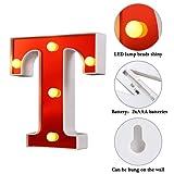 Samapet T LED Marquee Letter Lights 26 Alphabet Red