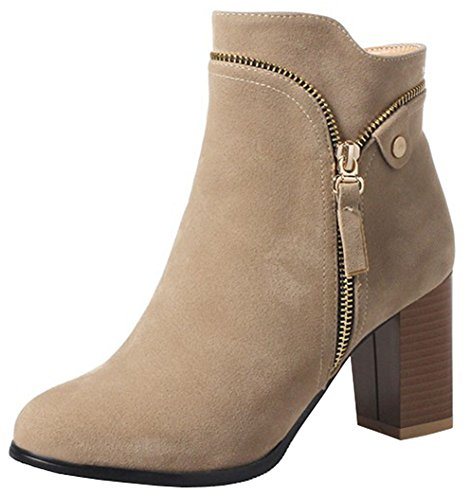 Easemax Women's Stylish Faux Suede Zip Up Round Toe Chunky Mid Heel Short Ankle High Boots apricot spPcS