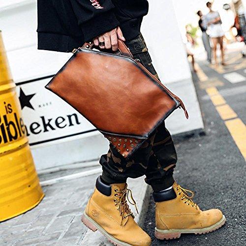 Pochette da lavoro in pelle con pochette da polso in pelle PU con cinturino per uomo con decorazione a rivetti