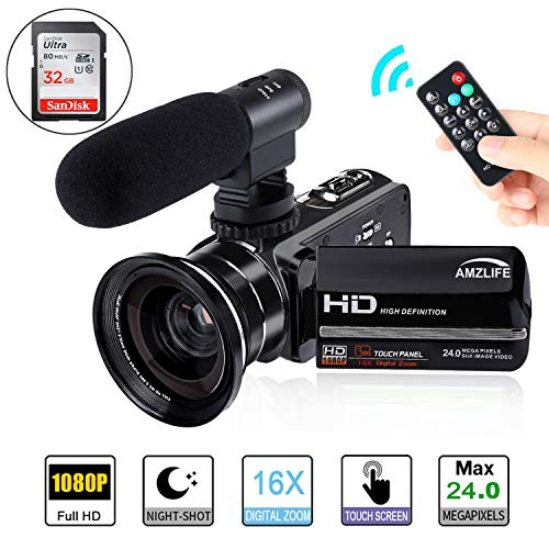 Video Camera Camcorder AMZLIFE 1080P HD with Microphone and Wide Angle Lens IR Night Vision LCD Touch Screen Remote Controller 16X Digital Zoom YouTube Vlogging Camera Recorder(Included 32 G SD - Waterproof Night Microphone Vision