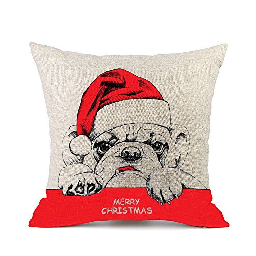 Bulldog Christmas (Redland Art Merry Christmas Cute Pet Bulldog Pattern Cotton Linen Sofa Cushion Cover Throw Pillow Case Home Decor Gifts 45x45cm)
