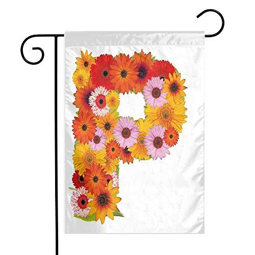 Mannwarehouse Letter P Garden Flag Flower Arrangement with Gerbera Daisies Colorful Palette Alphabet P Symbol Print Premium Material W12 x L18 Multicolor ()