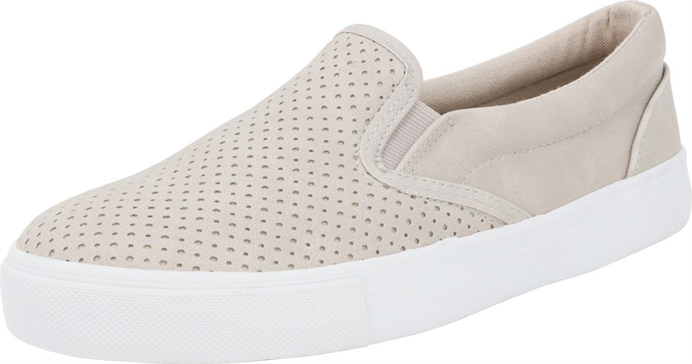 Cambridge Select Women's Slip-On Closed Round Toe Perforated Laser Cutout White Sole Flatform Fashion Sneaker B07BWWX2VX 7 B(M) US|Clay Nbpu