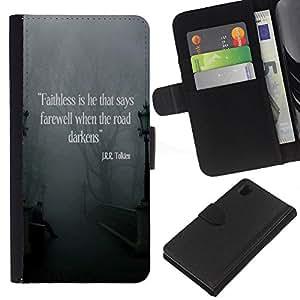 KingStore / Leather Etui en cuir / Sony Xperia Z1 L39 / Citer Dieu amour chrétien