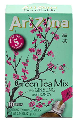 AriZona Green Tea with Ginseng Iced Tea Stix Sugar-Free, Low Calorie Single Serving Drink Powder Packets, Just Add Water for a Deliciously Refreshing Iced Tea Beverage, 10 Count, Pack of 6 (Amazon Tea Green)