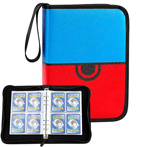Trading Card Holder Album, 6-Ring Binder Sleeves Compatible for PM Cards Game with 25 Premium 8-Pocket Sheets, 200 Pockets - Upgrade