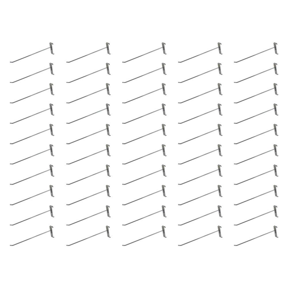 MH GLOBAL Set of 50 Pieces 12 Inch Length Chrome Metal Wire Gridwall Hooks Grid Panel Display Hanger