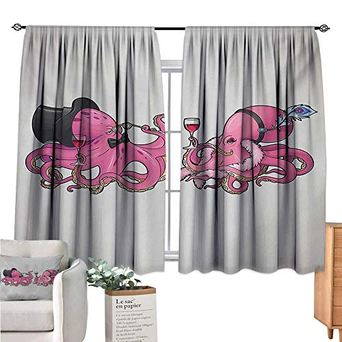 (Warm Family Octopus Kids Curtain Cartoon Art Illustration of Octopuses in Fun Retro Costumes at Party Vintage Style Pink Grey Short Curtain W72 x)