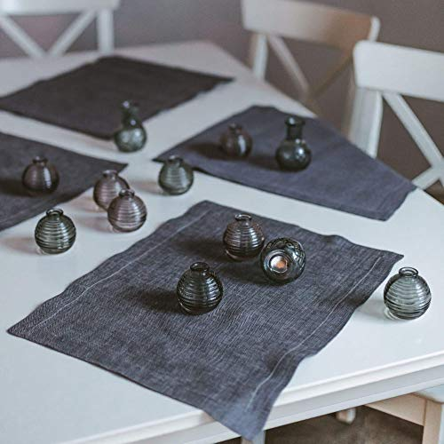 (Pure 100% Linen Table Placemats - Set of 4 pcs 15x18