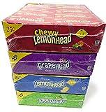 Lemonhead Bulk Variety Sampler (Lemonheads, Appleheads, Grapeheads, Chewy Lemonheads Fruit Mix). Bay Area Marketplace Shopping Tote Bag Included with Purchase!!!