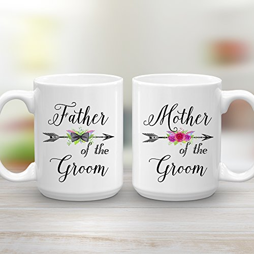 Mother and Father of the Groom Wedding Gift Mug Set, 2 15 oz Coffee Mugs