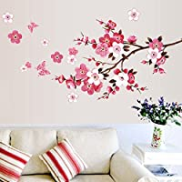 UEB Cherry Blossom Waterproof Wall Background Sticker Decals for Bedroom Living Room