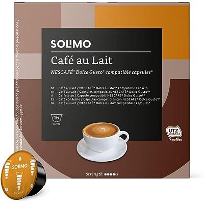 Marca Amazon - Solimo - Dolce Gusto Café au lait, café certificado UTZ, 96 cápsulas (6 x 16)