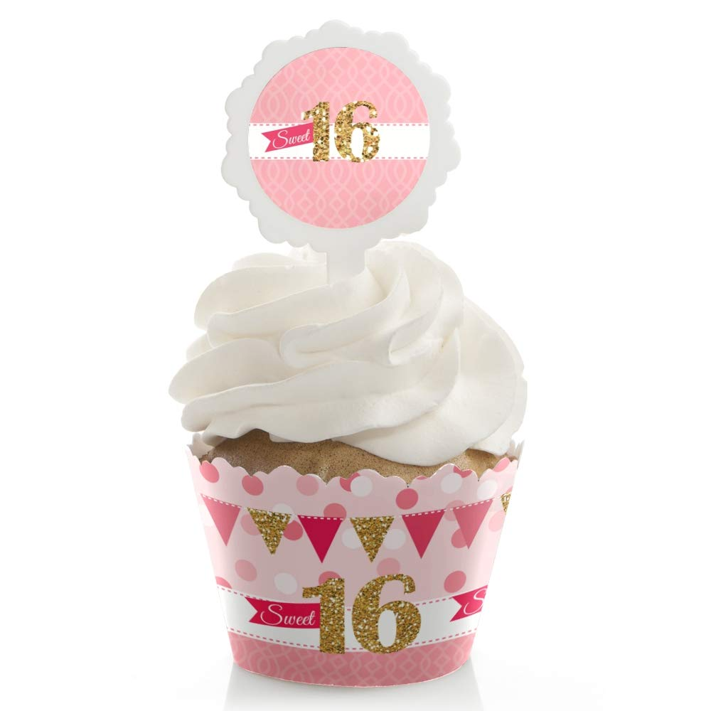 Sweet 16 - Birthday Party Cupcake Wrapper and Pick - Cupcake Decorating Kit - Set of 24