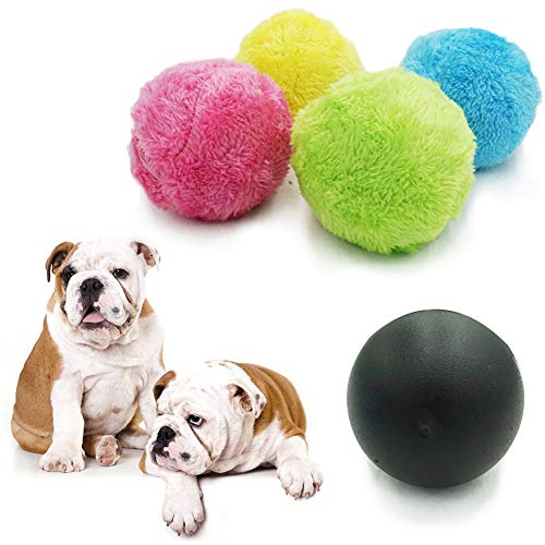 (Magic Roller Ball Toy Automatic Roller Ball Magic Ball Dog Cat Pet Toy Mini Robot Cleaner Home Cleaning(1 Rolling Ball + 4 Color Ball Cover))