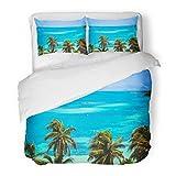 SanChic Duvet Cover Set Tropical Mexican Islands Perfect Aqua Blue Beach Palm Trees Contoy on The Caribbean Decorative Bedding Set 2 Pillow Shams King Size