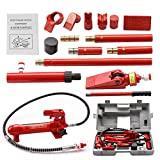 F2C 4 Ton Capacity Porta Power Hydraulic Bottle Jack Ram Pump Auto Body Frame Repair Tool Kit Power Set Auto Tool for Automotive, Truck, Farm and Heavy Equipment/ Construction (4 Ton)