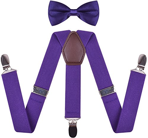 WDSKY Toddler Boys' Bow Tie and Suspenders Set Y Back Adjustable Purple 22 ()