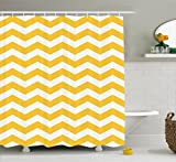 shower tile design ideas Ambesonne Yellow Chevron Shower Curtain, Modern Summer Season Pattern Zigzag Tile Design Wavy Horizontal Motif, Fabric Bathroom Decor Set with Hooks, 84 Inches Extra Long, Yellow and White